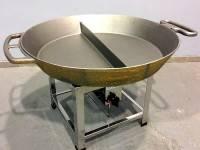 Hockerkocher mit geteilter Pfanne